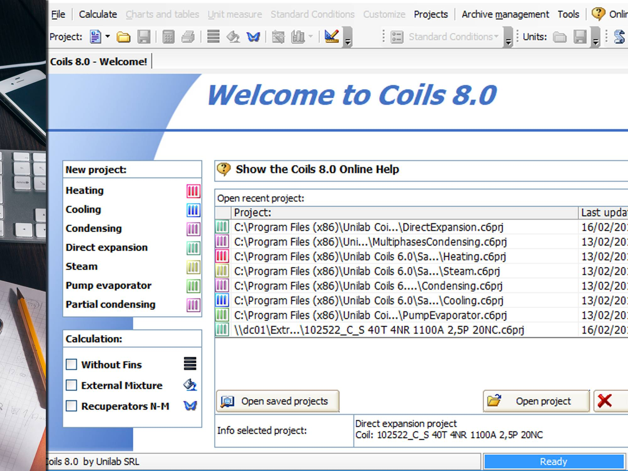 COILS CALCULATION MODES | UNILAB - Heat Transfer Software